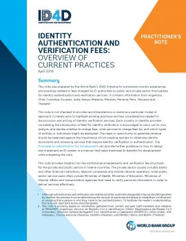 Identity Authentication and Verification Fees : Overview of Current Practices