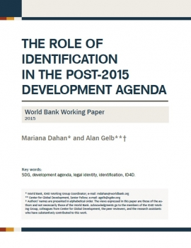 The Role of Identification in the Post-2015 Development Agenda Digital Identity cover